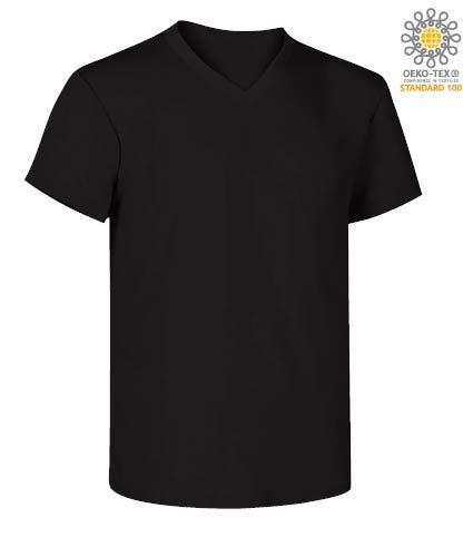 T-Shirt manica corta con scollo a V, in cotone. Colore nero