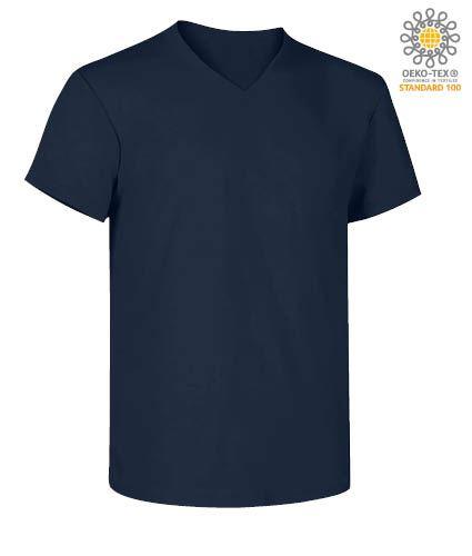 T-Shirt manica corta con scollo a V, in cotone. Colore blu navy