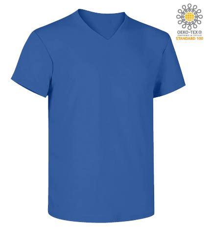 T-Shirt manica corta con scollo a V, in cotone. Colore azzurro royal