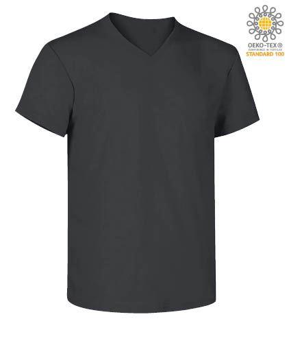 T-Shirt manica corta con scollo a V, in cotone. Colore grigio scuro