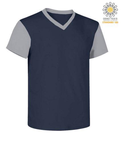 T-Shirt da lavoro scollo a V, bicolore, collo e maniche in contrasto. Colore blu navy/grigio