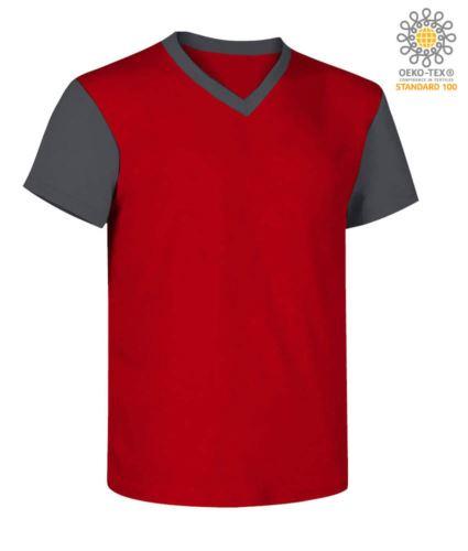 T-Shirt da lavoro scollo a V, bicolore, collo e maniche in contrasto. Colore rosso/grigio