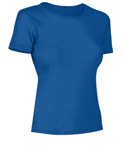 T-Shirt donna maniche corte, collo dello stesso tessuto della maglia, colore blu royal