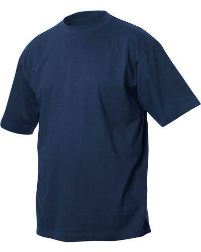 T-shirt girocollo, maniche corte, collo in costina con elastane, colore blu navy
