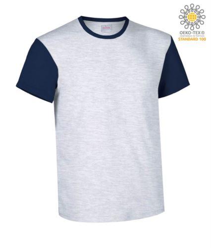 T-Shirt manica corta da lavoro bicolore, girocollo e maniche in contrasto, 100% Cotone. Colore grigio melange e blu