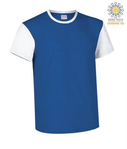 T-Shirt manica corta da lavoro bicolore, girocollo e maniche in contrasto, 100% Cotone. Colore blu royal e bianco