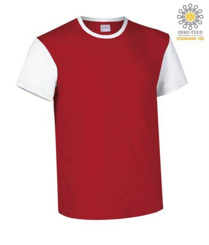 T-Shirt manica corta da lavoro bicolore, girocollo e maniche in contrasto, 100% Cotone. Colore rosso e bianco