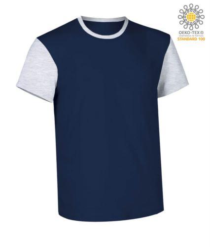 T-Shirt manica corta da lavoro bicolore, girocollo e maniche in contrasto, 100% Cotone. Colore blu navy e bianco