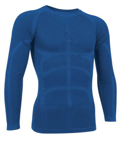T-shirt termica a manica lunga in tessuto second skin, girocollo, traspirante a fibra cava, colore azzurro royal