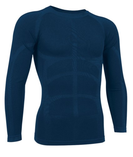 T-shirt termica a manica lunga in tessuto second skin, girocollo, traspirante a fibra cava, colore blu