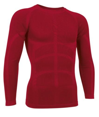T-shirt termica a manica lunga in tessuto second skin, girocollo, traspirante a fibra cava, colore rosso