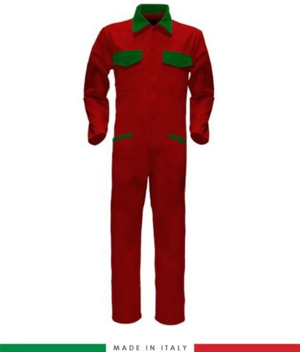 Tuta intera bicolore, collo a camicia, cerniera centrale coperta, elastico in vita. Possibilità di produzione personalizzata. Made in Italy. Colore Rosso/Verde Brillante