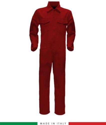 Tuta intera bicolore, collo a camicia, cerniera centrale coperta, elastico in vita. Possibilità di produzione personalizzata. Made in Italy. Colore Rosso