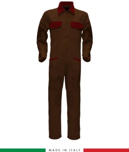 Tuta intera bicolore, collo a camicia, cerniera centrale coperta, elastico in vita. Possibilità di produzione personalizzata. Made in Italy. Colore Marrone/Rosso