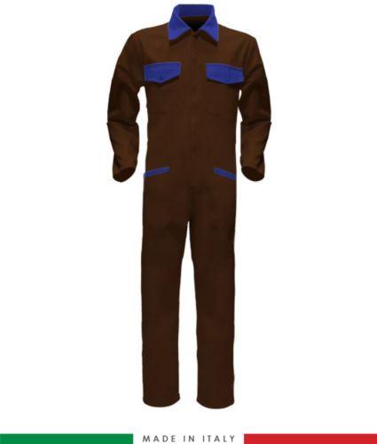 Tuta intera bicolore, collo a camicia, cerniera centrale coperta, elastico in vita. Possibilità di produzione personalizzata. Made in Italy. Colore Marrone/Azzurro Royal