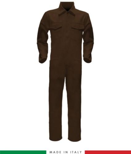 Tuta intera bicolore, collo a camicia, cerniera centrale coperta, elastico in vita. Possibilità di produzione personalizzata. Made in Italy. Colore Marrone