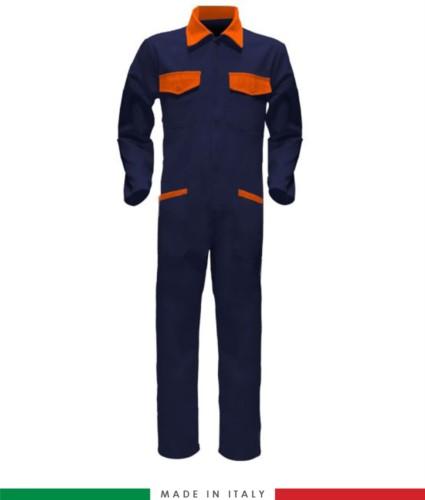 Tuta intera bicolore, collo a camicia, cerniera centrale coperta, elastico in vita. Possibilità di produzione personalizzata. Made in Italy. Colore Blu Navy/Arancione