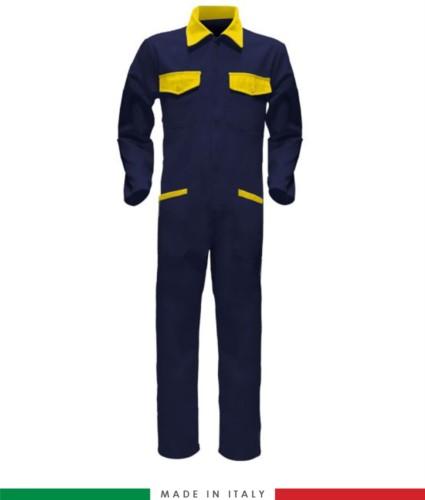 Tuta intera bicolore, collo a camicia, cerniera centrale coperta, elastico in vita. Possibilità di produzione personalizzata. Made in Italy. Colore Blu Navy/Giallo
