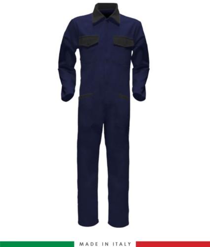 Tuta intera bicolore, collo a camicia, cerniera centrale coperta, elastico in vita. Possibilità di produzione personalizzata. Made in Italy. Colore Blu Navy/Nero