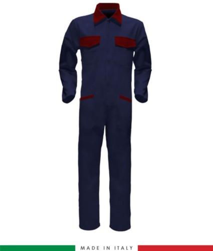 Tuta intera bicolore, collo a camicia, cerniera centrale coperta, elastico in vita. Possibilità di produzione personalizzata. Made in Italy. Colore Blu Navy/Rosso
