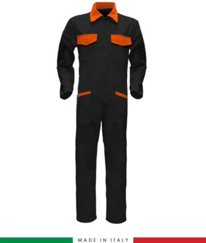 Tuta intera bicolore, collo a camicia, cerniera centrale coperta, elastico in vita. Possibilità di produzione personalizzata. Made in Italy. Colore Nero/Arancione