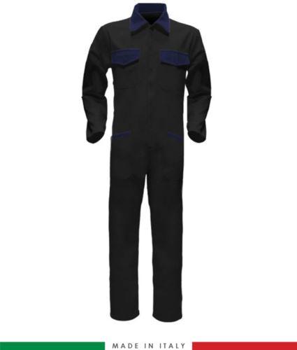 Tuta intera bicolore, collo a camicia, cerniera centrale coperta, elastico in vita. Possibilità di produzione personalizzata. Made in Italy. Colore Nero/Blu Navy