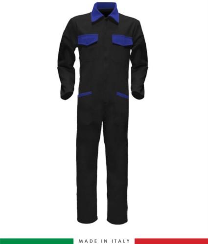Tuta intera bicolore, collo a camicia, cerniera centrale coperta, elastico in vita. Possibilità di produzione personalizzata. Made in Italy. Colore Nero/Azzurro Royal