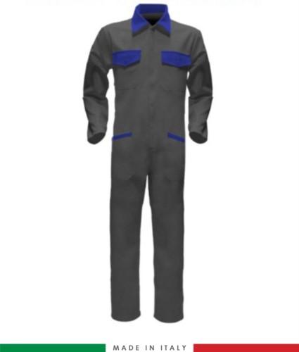 Tuta intera  bicolore grigia, abbigliamento da lavoro normative, tuta intera da elettricista