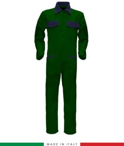 Tuta intera bicolore, collo a camicia, cerniera centrale coperta, elastico in vita. Possibilità di produzione personalizzata. Made in Italy. Colore Verde Bottiglia/Blu Navy
