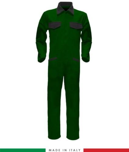 Tuta intera bicolore, collo a camicia, cerniera centrale coperta, elastico in vita. Possibilità di produzione personalizzata. Made in Italy. Colore Verde Bottiglia/Nero