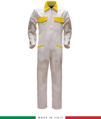 Tuta intera bicolore, collo a camicia, cerniera centrale coperta, elastico in vita. Possibilità di produzione personalizzata. Made in Italy. Colore Bianco/Giallo