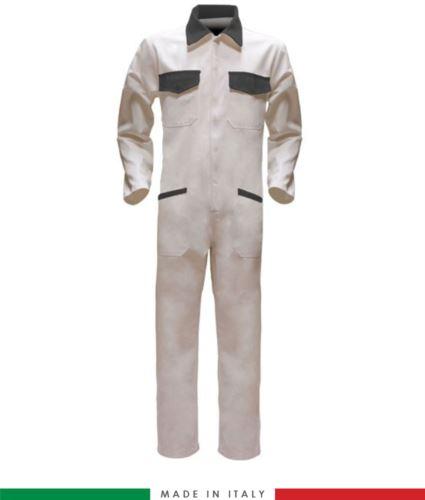 Tuta intera bicolore, collo a camicia, cerniera centrale coperta, elastico in vita. Possibilità di produzione personalizzata. Made in Italy. Colore Bianco/Grigio
