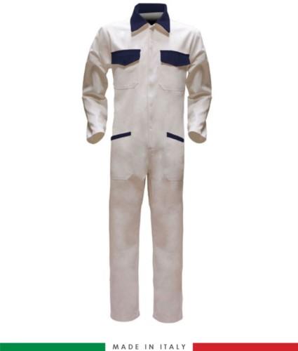 Tuta intera bicolore, collo a camicia, cerniera centrale coperta, elastico in vita. Possibilità di produzione personalizzata. Made in Italy. Colore Bianco/Blu Navy