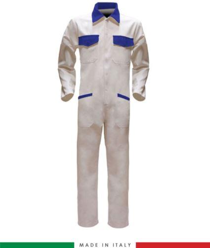 Tuta intera bicolore, collo a camicia, cerniera centrale coperta, elastico in vita. Possibilità di produzione personalizzata. Made in Italy. Colore Bianco/Azzurro Royal