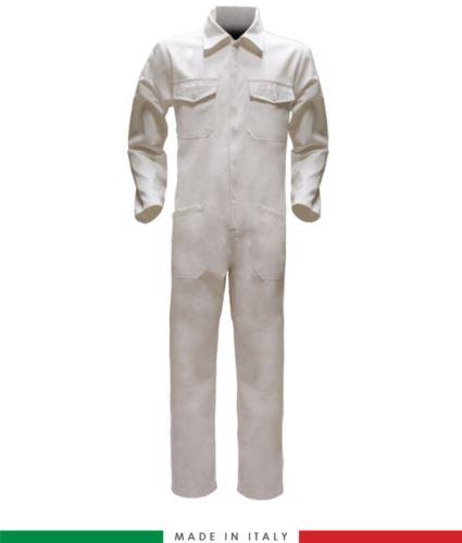 Tuta intera bicolore, collo a camicia, cerniera centrale coperta, elastico in vita. Possibilità di produzione personalizzata. Made in Italy. Colore Bianco