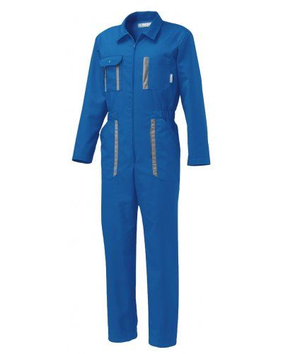 Tuta multitasche da lavoro azzurra, abbigliamento professionale da idraulico, tuta intera da fabbrica