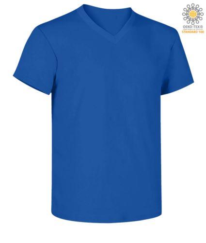 T-shirt maniche corte scollo a V, colore azzurro royal