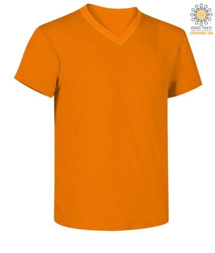 T-shirt maniche corte scollo a V, colore arancione