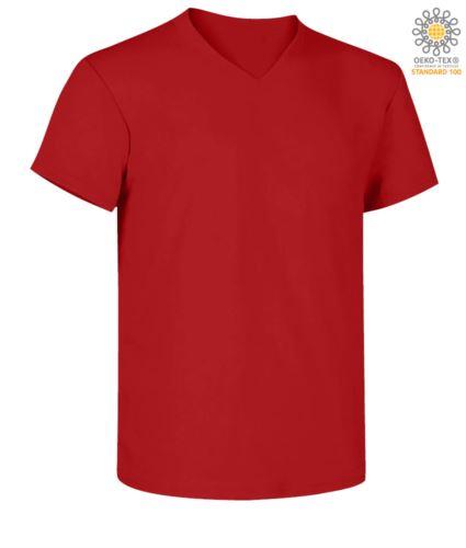 T-shirt maniche corte scollo a V, colore rosso