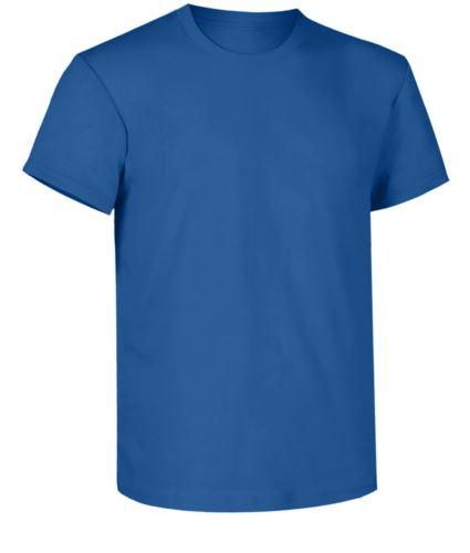 T-shirt da lavoro, collo in costina con elastane, colore azzurro royal