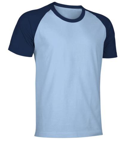 T-Shirt da lavoro manica corta, bicolore in jersey, colore celeste e blu navy