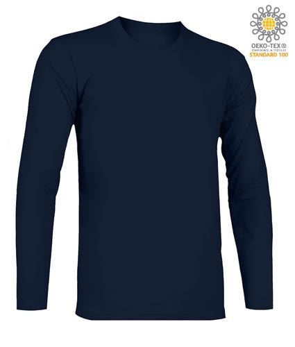 T-Shirt a manica lunga, girocollo, 100% Cotone, colore blu navy