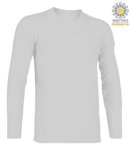 T-Shirt a manica lunga, girocollo, 100% Cotone, colore grigio melange