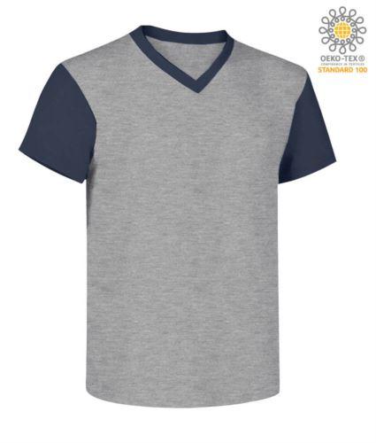 T-Shirt da lavoro scollo a V, bicolore, collo e maniche in contrasto. Colore grigio melange/blu navy