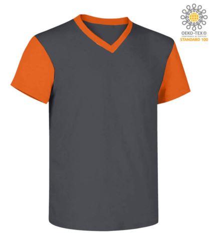T-Shirt da lavoro scollo a V, bicolore, collo e maniche in contrasto. Colore grigio/arancione