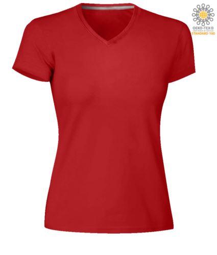 T-shirt maniche corte donna con scollo a V, colore rosso