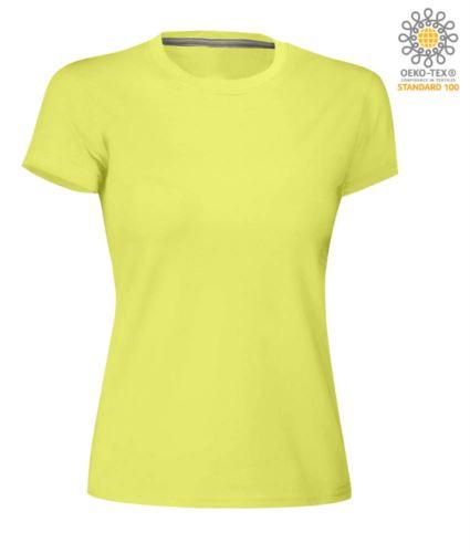 T-shirt donna girocollo a maniche corte da lavoro in cotone, colore limo light