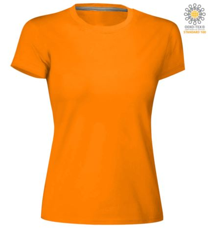 T-shirt donna girocollo a maniche corte da lavoro in cotone, colore arancione