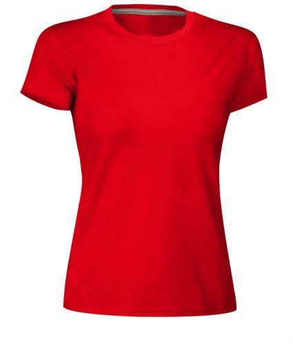 T-shirt donna girocollo a maniche corte da lavoro in cotone, colore rosso