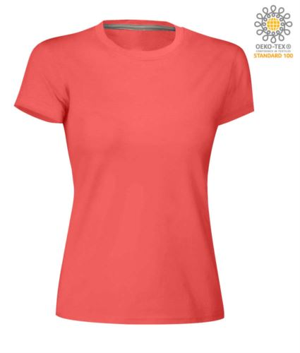 T-shirt donna girocollo a maniche corte da lavoro in cotone, colore hot coral